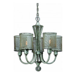 """Uttermost - Pontoise 5 Light Vintage Chandelier - This Vintage Rustic Style Chandelier Features A Handcrafted Rustic Screen Shades With Intentional Indentations And Uneven Texture, So No Two Are Exactly Alike. The Metal Finish Is Distressed Antiqued Ivory With Dark Espresso Undertones. 60-watt Antique Style Bulbs Are Included. Dimensions: 26""""H X 24"""" Diameter; Lights: 5; Finish: Distressed Antiqued Ivory; Light Covers: Hand Crafted Rustic Screen Shades; Weight: 15 lbs; UL Approved"""