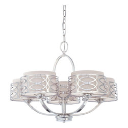 Satco - Satco Harlow Contemporary / Modern Chandelier X-5264/06 - The Harlow collection is offered in gleaming Polished Nickel with Slate Gray fabric shades or richly toned Hazel Bronze with Khaki Linen shades.  In either finish, Harlow is the perfect balance of style and glamour.
