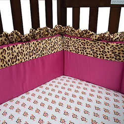 Trend Lab - Trend Lab Berry Leopard Crib Bedding Set - Crib Bumpers - Trend Labs Berry Leopard Crib Bumpers combine a berry pink cotton solid with a leopard printed velour in tan and deep mahogany. Berry pink trim and ties and a leopard ruffle add the finishing touches. Bumpers consist of two long and two short pieces measuring 10 in tall. Coordinating Berry Leopard 3-Piece Crib Bedding and room accessories by Trend Lab sold separately.