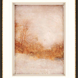 Paragon Decor - Rustic Gold Artwork - A golden forest appears blanketed in snow on a winter's evening.