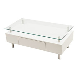 Modern white rectangular coffee table with drawer Molino - The coffee table Molino is a very stylish and functional occasional table. The base of this modern coffee table is wrapped with high quality white faux leather. The rectangular table top is made of tempered clear glass. The whole coffee table is mounted on four stylish chromed stainless steel legs.