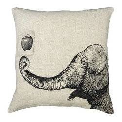 Sugarboo Designs - Apple and Elephant Pillow - Such a friendly fellow printed on this whimsical occasional pillow. Here's a apple for you for choosing to add this playful layer to your sofa, guest bed or entry bench. Neutral and natural for all interiors and fun mixed with punches of color. Feather down insert included. (SD)