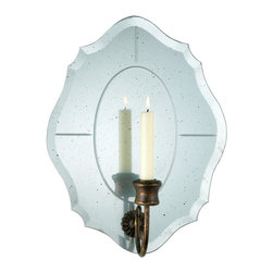 Kathy Kuo Home - Bonnet Antique Scalloped Mirror Taper Candle Sconce - Some combinations just work no matter what,  like candle light and mirrors.  Featuring a generous helping of classic touches, this mirrored candle sconce has scalloped mirror edges, a bronze patina metal finish, and delicate mirror etching all working to create pure magic when the flame is burning.  Traditional spaces with a romantic side will fall in love with this understated beauty.