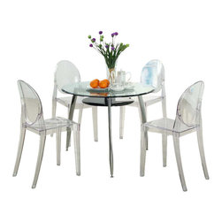 Modway - Casper Dining Chairs Set of 4 in Clear - Combine artistic endeavors into a unified vision of harmony and grace with the ethereal Casper Chair. Allow bursts of creative energy to reach every aspect of your contemporary living space as this masterpiece reinvents your surroundings. Surprisingly sturdy and durable, the Casper Chair is appropriate for any room or outdoor setting. Pure perception awaits, as shining moments of brilliance turn visual vacuums into new realms of transcendence.