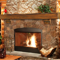 Shenandoah Fireplace Mantel Shelf - The Shenandoah Fireplace Mantel Shelf features charming frontier flavor that creates a rustic atmosphere for any room. Hand-hewn edges and splits enhance the natural beauty of the wood grain.