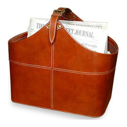 Kathy Kuo Home - Ellington Contemporary Leather Magazine Holder - Constructed from tan leather, this magazine holder is contemporary, and robust enough to hold an entire holder full of magazines.