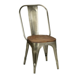 Habitat Home & Garden - Metal and Wood Chair - The Metal and Wood Chair is a fun mix of industrial metal and reclaimed wood. Its seat is made from reclaimed wood planks, and the chair's frame is a nickel-colored metal.