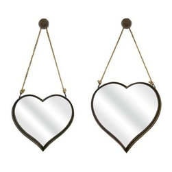 Heart Shape Wall Mirror - Set of 2 - Heart shaped rustic wall mirrors feature a rust colored finish hanging bracket and rope detailing.