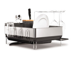 simplehuman - Steel Frame Dishrack With Wine Glass Holder - Most drying racks are handy, but unsightly. Not this one. Its stylish design keeps counters dry and free of moisture, thanks to a handy drip tray that catches water and directs it into the sink with a twist of the spout. Delicate wineglasses dry safely on their own rack, and knife blades stay sharp thanks to the built-in bamboo knife block. It's the perfect complement to today's stainless steel kitchens.
