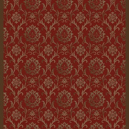 "Concord Global - Concord Global Mooresville Damask Red Transitional 2'3"" x 7'3"" Runner Rug (2800) - Heavy construction of double twisted yarn in combination with regular pin point yarn gives depth and texture in Mooresville's transitional, modern, and traditional patterns"