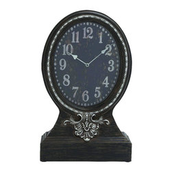 Benzara - Contemporary The Ningshi (Staring) Wood Table Clock Home Decor - Contemporary and modern inspired style the Ningshi (Staring) wood table clock living and family room home accent decor