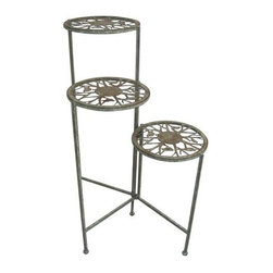 Alpine Corporation - Metal 3 Tier Plant Stand - The graceful 3-Tier Plant Stand dazzles with its elegant, flowing designs and deep bronze coloring. Stylish metal tiered plant stand features vining birds and branches mingled with scrolling accents. Furnishing has three plateu's for your potted plants.