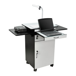 Luxor - H Wilson Presentation Cart - WPSDD3 - H Wilson's WPSDD3 is a sturdy multimedia station that includes s a easy glide laptop shelf, two drop leaf shelves for your notes and other presentation equipment. Your valuable audio visual equipment will be secure in the lockable cabinet, that includes an adjustable, or even removable shelf. Constructed from a durable laminate finish.
