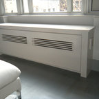 Modern Radiator Cover - Custom removable panel with custom panel details and wood grill.