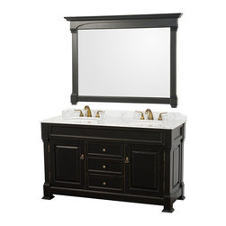 """Wyndham Collection - Wyndham Collection 60"""" Andover Double Sink Bathroom Vanity Set in Antique Black - A new edition to the Wyndham Collection, the beautiful Andover bathroom vanity series represents an updated take on traditional styling. The Andover is a keystone piece, with strong, classic lines and an attention to detail. The vanity and solid marble countertop are hand carved and stained. Available in Black and Dark Cherry finishes to match any decor. Available in a range of single or double vanity sizes to fit any bathroom."""