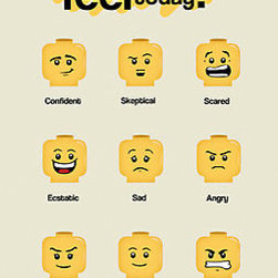 """Lego Moods"" Photographic Prints by designholic - This Lego Moods poster can help you teach your child the concept of feelings. Ask them every morning, ""How do you feel today?"""