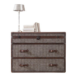 Silver Nest - Trunk Style Chest - Gray trunk style three drawer chest.
