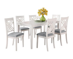 Standard Furniture - Standard Furniture Brooklyn White Rectangular Dining Table with 6 Chairs - Brooklyn white has smooth transitional styling and great detailing on its focal point chairs with their triple x-back motif that forms an open lattice element.