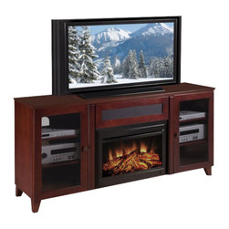 """Furnitech - 70"""" Shaker-Style TV Media Console with 25"""" Electric Fireplace - 70"""" Shaker-Style TV Media Console for Flat Screen and Audio Video Installations with 25"""" Electric Fireplace"""