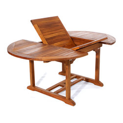 All Things Cedar - 6ft Teak Patio Oval Extension Table - with foldable butterfly  leaf - Table Dimensions: 48 x 48 x 29 (expandable to 72 x 48 x 29) Item is made to order.