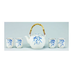 Old Dutch International - Bamboo Grove 5-Pc Porcelain Tea Set - 3.38 lbs. capacity. Made from Porcelain. Cream with blue finish. No assembly required. 13 in. L x 8 in. W x 5.5 in. H (8 lbs.)