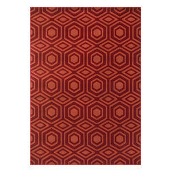 "Loloi Rugs - Loloi Rugs Goodwin Collection - Red / Rust, 5'-3"" x 7'-7"" - Go bold with the big graphic patterns featured in the Goodwin Collection. Power loomed in Turkey of 100% polypropylene, expect amazing color fastness from the resilient fiber and unparalleled durability from the densely packed yarns. Available in scatter, regular, round, and runner sizes."