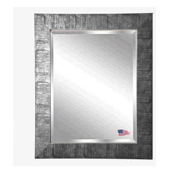 Rayne Mirrors - American Made Safari Silver Beveled Wall Mirror - Create dramatic visual appeal in your space with this safari inspired framed wall mirror. Its beautiful silver grain texture adds interest to any space. Rayne's American Made standard of quality includes; metal reinforced frame corner  support, both vertical and horizontal hanging hardware installed and a manufacturers warranty.
