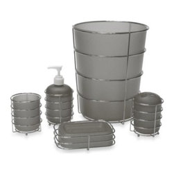 Allure Home Creation-california - Wire Ware Waste Basket in Grey - Each piece in this bath ensemble is made of sturdy, frosty gray plastic and rests elegantly in a shiny wire chrome holder. Pieces separate for easy cleaning.