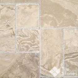 Tuscany Walut Onyx Travertine, Versailles Pattern - Versailles pattern is composed of strong travertine tiles that are honed to a dull sheen. The individual tiles are cream colored with pinkish tones and grey swirls on the surface. The edges of the tiles are slightly weathered-looking. They are arranged in an elegant Versailles pattern and are ready to be installed anywhere.