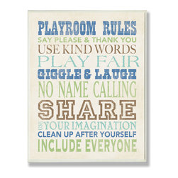 Stupell Industries - Boys Playroom Rules Typography Rect Wall Plaque - Treat your home to some style with one this decorative wooden wall plaques.    It is produced on sturdy half-inch thick MDF wood, and comes with a saw tooth hanger on the back for instant use.  The sides are hand finished and painted so a perfect crisp look.  MADE IN USA.