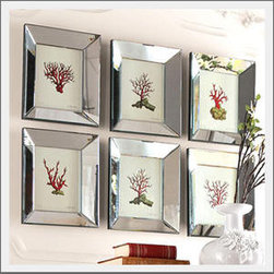 Coral Art - I love the mirrored frames and simple design of the coral prints. They make a perfect blend of modern and traditional.