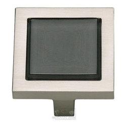 "Atlas Homewares - Cabinet Hardware - Spa 1 1/4"" Square Knob in Black and Brushed -"