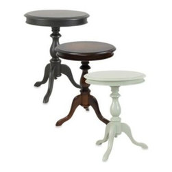 Carolina Chair & Table - Carolina Chair & Table Antique Gilda Side Table - Classically designed with versatile styling, this elegant side table will complement any room. It's small enough to fit in several places and has a lovely, lathe-turned pedestal.