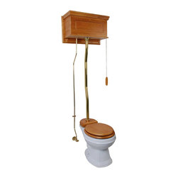 Renovators Supply - High Tank Toilets White Raised Panel Light Oak Fin Round Z-pipe - High Tank Toilets Z-pipe: Our stylish high tank round toilet will lend your lavatory the charm & ambiance of the Victorian age. We've updated the materials and components with 21st century technology. All tanks are a water-saving 1.6 gallons per flush. Ready to install with all mounting parts, includes light oak finish raised panel wood tank, liner, supply line, angle stop, mounting hardware and grade A vitreous round bowl. Toilet seat not included. Adjustable overall height from 59 in. to 74 in. and 12 inch rough-in.