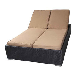 Modway - Evinve Two-Seater Outdoor Chaise Recliner In Espresso With Mocha Cushio - All Weather Synthetic Rattan Weave