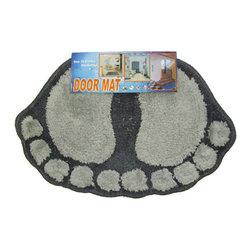 Store51 LLC - Foot Prints Black-Grey Shaggy Accent Floor Rug Door Mat - FEATURES: