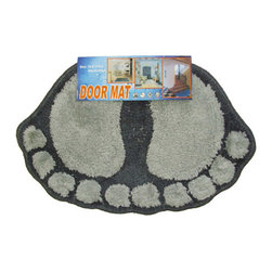Store51 LLC - Foot Prints Black-Grey Shaggy Accent Floor Rug Door Mat - FEATURES: