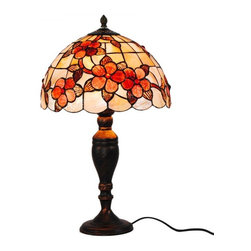 ParrotUncle - Plum Blossom Tiffany Style Table Lamp - The Tiffany Lighting fixture has been a staple in interior design since the late 1800s and is still as fashionable today. As a part of the Art Nouveau movement,this Plum Blossom Tiffany Style Table Lamp are a fabulous choice especially if your decor is vintage inspired or Victorian. Made up of several pieces of stained glass, these are timeless light fixtures that will never go out of style.