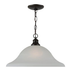 Seagull - Seagull Windgate - Heirloom Bronze Collection Pendant Lighting Fixture - Shown in picture: 65940-782 One Light Pendant in Heirloom Bronze finish with Alabaster Glass