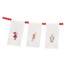 Grandin Road - Dash Away Elf Tea Towels - Select from eight vibrant designs, or order one of each. 100% ramie cotton. Finished with an embroidered hemstitch detail. Machine wash in cold, gentle cycle; tumble dry on low. Makes a great gift pairing with Dash Away Reindeer Tea Towels and the Dash Away ornament collection. Deck the kitchen or the powder room with Patience Brewster's colorful and ultra-detailed Dash Away Elf Tea Towels. They make the perfect holiday hostess gift, and they're so adorable and affordable, you'll need a few for yourself. Each towel features one of Patience Brewster's whimsical elf characters meticulously embroidered on a crisp, white linen-like background.  .  .  .  .  . Imported.