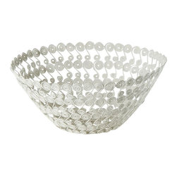 Rhadi Living - Swirl Bowl - Made in rural villages in India, these fabulous tabletop pieces are made of iron, wire and repurposed washers. Each one is handmade and may have slight variations based on the artisans individual craftsmanship.