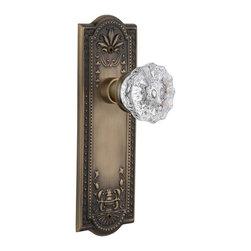 Nostalgic - Nostalgic Double Dummy-Meadows Plate-Crystal Knob-Antique Brass (NW-701819) - Meadows Plate with Crystal Knob With Keyhole - Double Dummy
