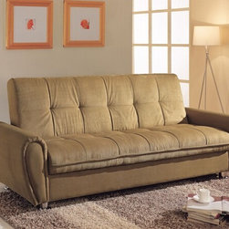 "Acme - Taylor Khaki Microfiber Fabric Upholstered Adjustable Sofa Futon Bed - Taylor khaki microfiber fabric upholstered adjustable sofa futon bed with storage underneath and tufted back with chrome finish legs. This set features a microfiber fabric upholstery and a folding back to lay flat to convert to a sleep area. Measures when flat 82"" x 46"" x 21""H. Measures when upright 82"" x 36"" x 34""H. Some assembly required."
