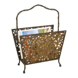 Welcome Home Accents - Oil Rubbed Bronze Leaf Magazine Rack - Keep magazines and newspapers in one easy-to-reach place with the Leaf Design Magazine Rack. This decorative magazine rack features sturdy metal construction with an eye-catching leaf cut-out design. Finished in an oil rubbed bronze and featuring a vine-like handle to complete the theme. Four feet give this rack excellent stability. Wipe with a dry cloth.