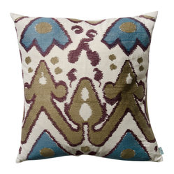 "KOKO - Blue and Plum Ikat Pillow, 20"" x 20"" - Ikat is such a classic print. It pairs perfectly with most any mix of eclectic pillows. The green and brown earth tones are nice and neutral and that blue is the perfect accent. You could easily work this print into your sofa, side chair or bed."