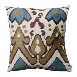 """KOKO - Blue and Plum Ikat Pillow, 20"""" x 20"""" - Ikat is such a classic print. It pairs perfectly with most any mix of eclectic pillows. The green and brown earth tones are nice and neutral and that blue is the perfect accent. You could easily work this print into your sofa, side chair or bed."""