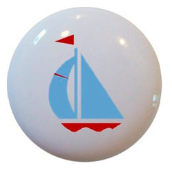 Carolina Hardware and Decor, LLC - Light Blue & Red Sailboat Ceramic Cabinet Drawer Knob - New 1 1/2 inch ceramic cabinet, drawer, or furniture knob with mounting hardware included. Also works great in a bathroom or on bi-fold closet doors (may require longer screws).  Item can be wiped clean with a soft damp cloth.  Great addition and nice finishing touch to any room.