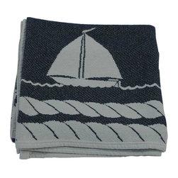"Happy Blanket - Cotton Throw Blanket Nautical Sail Boats 57""X71"" - This Beautiful Nautical Sail Boats Blanket / Throw is made of 100% Cotton for a comfy feel. Dress your bed, or the foot of the bed. This comfy blanket is sure to become an accent on your favorite sofa or chair. Take this blanket with you to the beach on the boat and cozy up at night while telling stories around a bonfire."