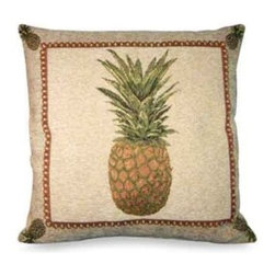 Brentwood Originals - Panama Pineapple Toss Pillow - For a touch of the exotic, add this stylish pineapple pillow to a sofa or chair. In warm tones of khaki, yellow and green with a coordinating fringe, it makes a welcoming home accent in any room.