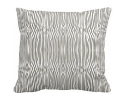 PURE Inspired Design - Mini Zebra Organic Cotton Fabric 18 x 15 Pillow in Khaki/Natural - You don't have to travel to the savanna to find big game. This cheeky adaptation of a classic zebra stripe is printed in color on washable organic cotton, and comes with a down insert for long-lasting comfort. Knife edges and a hidden zipper keep things looking crisp and tidy.